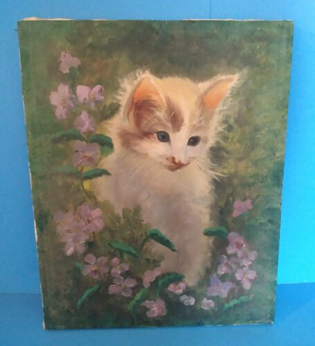 "11"" x 14"" Oil Painting of White Kitty Cat Kitten with Violet Flowers"
