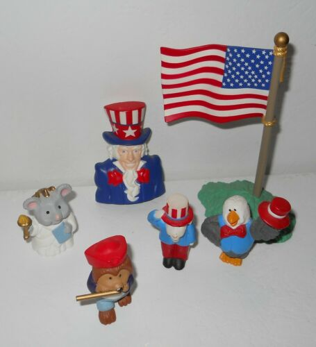 Hallmark Patriotic Merry Miniatures 4th of July Mini Figure Lot Flag Uncle Sam