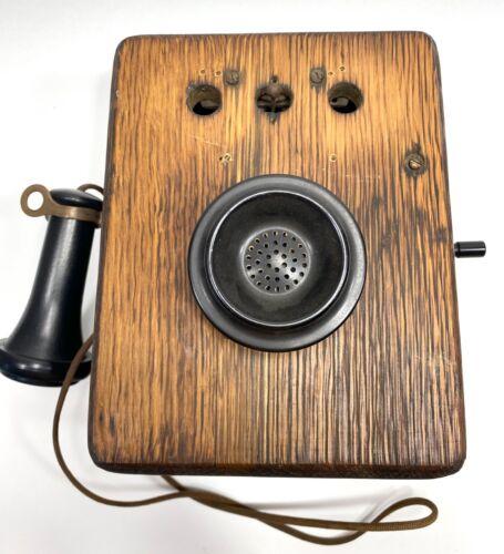 Antique Kellogg Switchboard Wall Phone Magneto Ring Box W/Crank Oak Wood