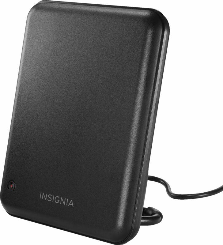 Insignia- AM/FM Amplified Indoor Plate Radio Antenna - Black