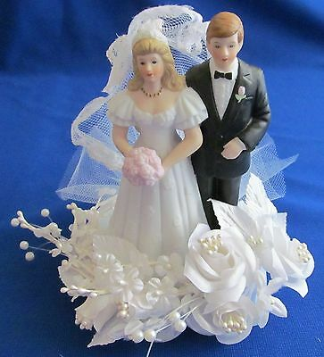 Black Coat Blonde Couple Wedding,Shower,Rehearsal  White Rose Spray New Cake - Rose Wedding Cake Top