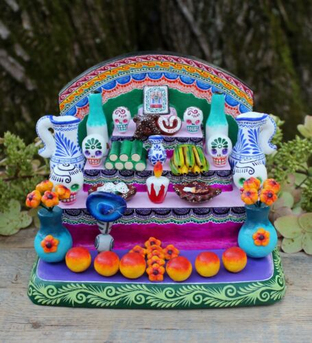 Traditional Day of the Dead Altar Handmade Hand Painted Puebla Mexican Folk Art