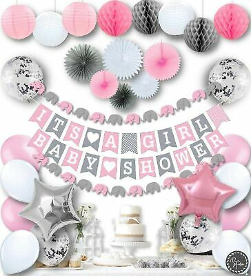 Baby Shower Decorations for Girls Elephant Pink and Grey Baby Shower Decorations