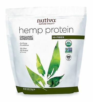 Organic Hemp Protein Hi Fiber Bag Nutiva 3 lbs Powder
