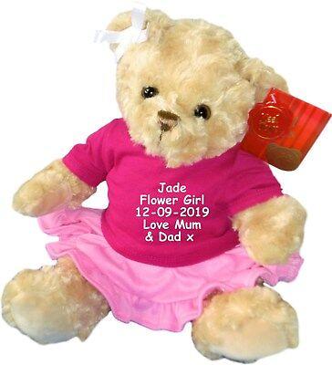 Personalised Teddy Bear Flower Girl Bridesmaid Wedding Embroidered Teddies Gift  ()