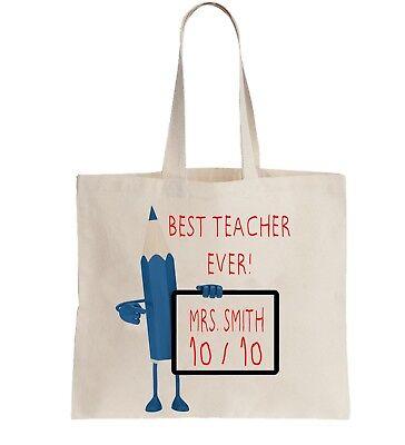 Personalised Tote Bag Shopper Best Teacher Ever! School Primary add Name Gift ](Best Teacher Bags)