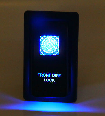 Dual LED Backlit Laser Etched Front DIFF Lock Rocker Switch -With Mounting Panel