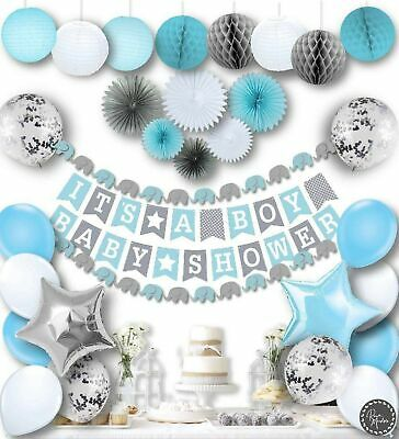 Baby Shower Decorations For A Boy (Baby Shower Decorations for Boys Kit Elephant Blue It's a)