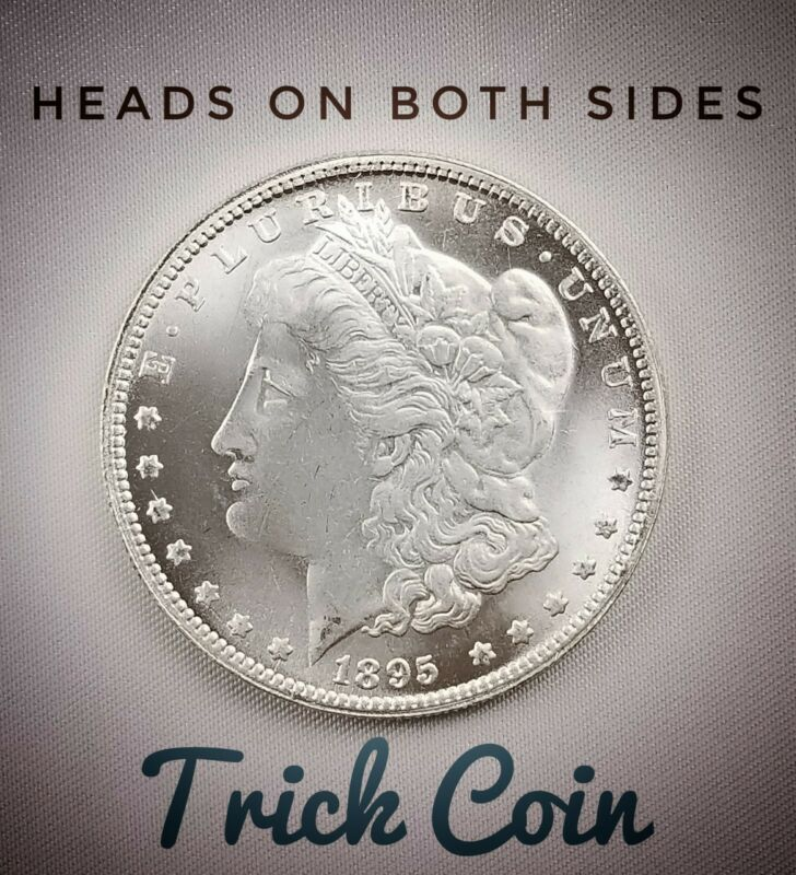 Two Sided 1895 Morgan Silver Dollar Coin Double Headed Two Face Coin - Untoned