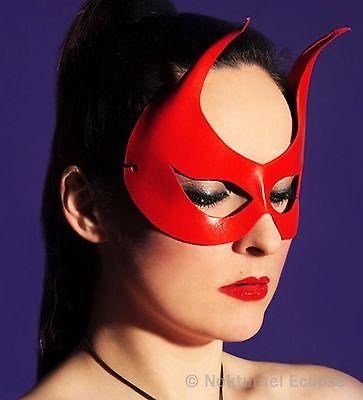 Red Devil Leather Mask Horns Masquerade Mardi Gras Halloween Super Hero Costume ()