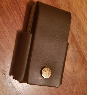 Business Card Holder With Button Snap Hand Cut And Hand Stitched Leather.
