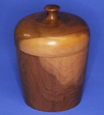Turned Carved Treen Wooden box storage jar - Yew, H:9cm *[18697]