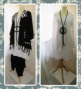QUIRKY LAGENLOOK, WHITE, TUNIC DRESS/TOP, ASYMMETRIC HEM, ANGLED SIDES, OSFA