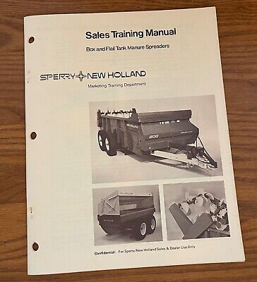 Sperry New Holland 1979 Box Flail Tank Manure Spreaders Sales Training Manual