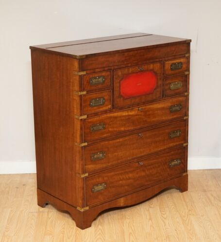 VINTAGE HARRODS BEVAN FUNNELL MILITARY CAMPAIGN SECRETAIRE CHEST OF DRAWERS