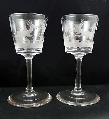 Pair Antique Etched Stags Crystal Stemmed Tot Glasses Finely Made