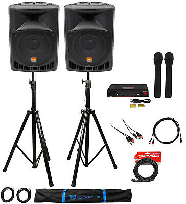 "Rockville Powered Dual 8"" Karaoke Auto/System 4 Youtube/iPad/iPhone/Laptop/TV"