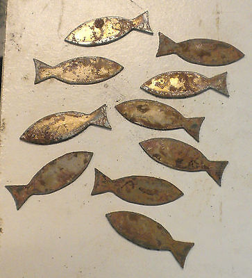 Lot Of 10 Fish Ichthus Shapes 2 Rusty Metal Art Craft Stencil Ornament Sign