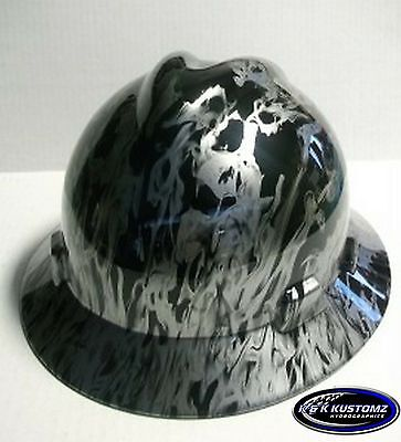 New Custom Msa V Gard Full Brim Hard Hat Black And Silver Wildfire Pattern