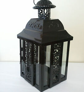 Lantern, candle holder, black, tealight, metal/glass, fiigree moroccan 30cm h