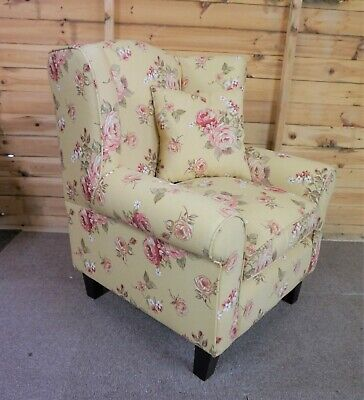 LIGHT BEIGE COLOUR ARMCHAIR WITH ROSE PATTERN