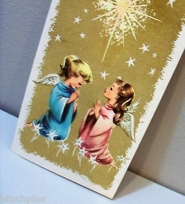 Vtg Christmas Card Blond Ponytail Brunette Angel Girl Child Praying Beneath Star