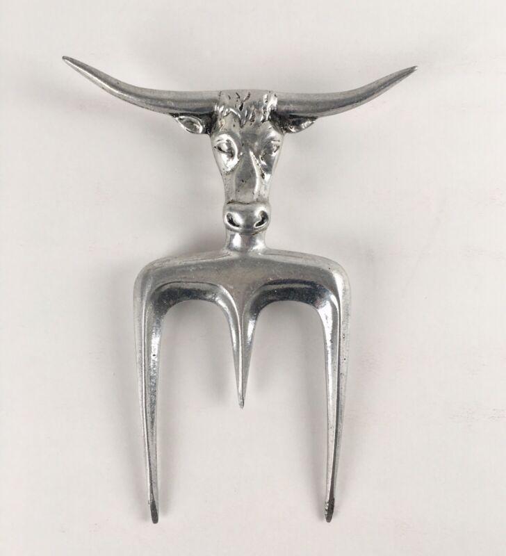 Vintage Texas Longhorn Steer Head Beef Steak Carving Fork for BBQ Cast Aluminum