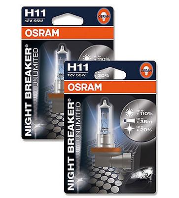 OSRAM 64211NBU Night Breaker Unlimited H11 Bulbs 12V 55W Brand New Pair