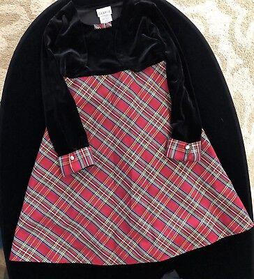George Girl's Dress Red Green Plaid Black Velvet Shrug Size 6 - Girls Velvet Shrug