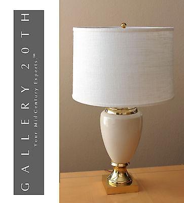 MARVELOUS! FREDERICK COOPER FRENCH EMPIRE TABLE LAMP! CREAM GOLD VTG EAMES 60'S