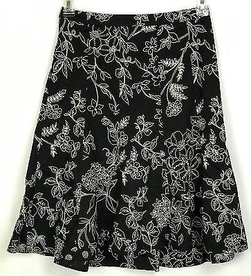 (Ann Taylor Loft Black White Floral Sequin Beaded Cotton Skirt Size 0 XS #E)