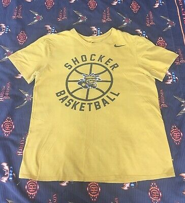 Wichita State Shockers Nike T-Shirt Large Yellow NCAA Tee Logo final four (Shockers T-shirt)