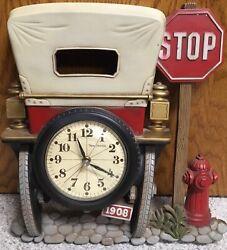 Vintage Burwood 1908 Car Wall Clock With New Haven Quartz Clock 1975 VG++