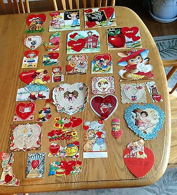 Lot of 32 Vintage Valentine Cards - 1930's to 1960's
