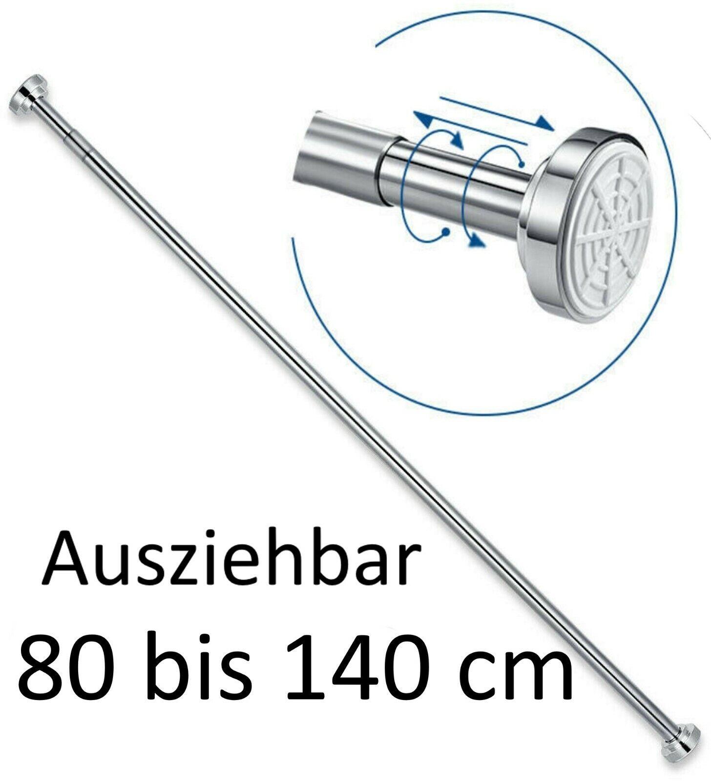 Duschstange Teleskop 80-140 cm Dusch Vorhang Stange Klemm Ausziehbar Ohne Bohren