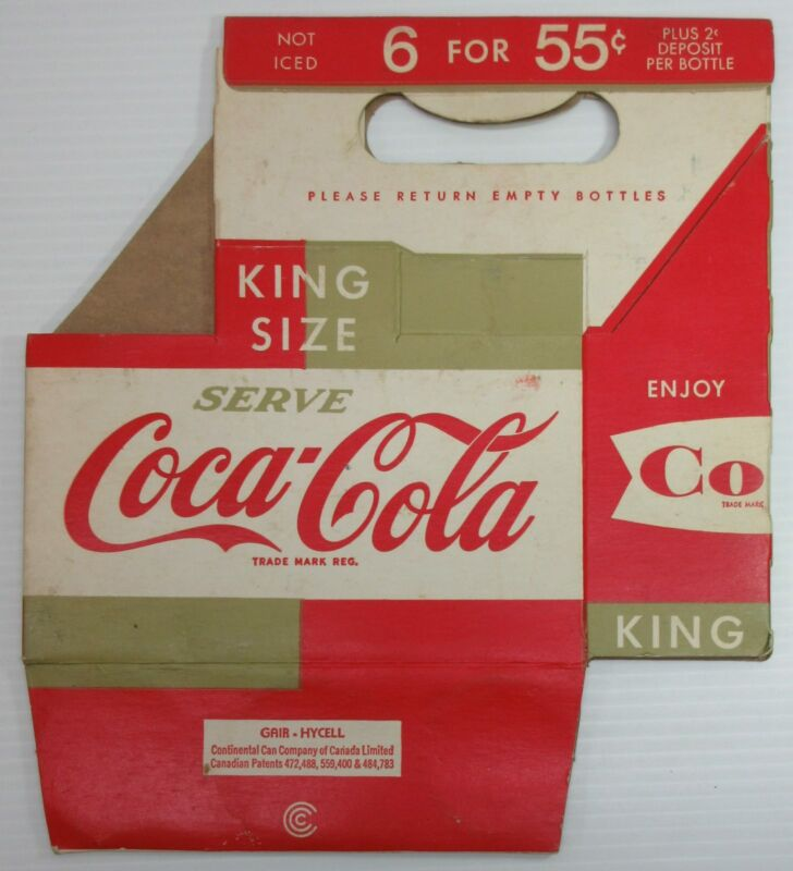 Coca-Cola King Size 6 for 55 Cents Cardboard Bottle Carrier Carton
