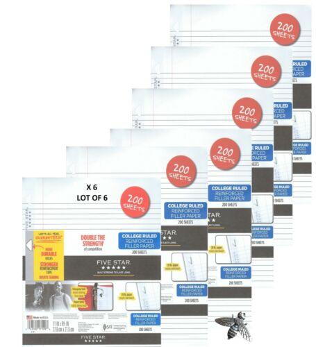 Five Star Lot Of 6 1200 Sheets Total Reinforced Filler Paper College Ruled 25ST