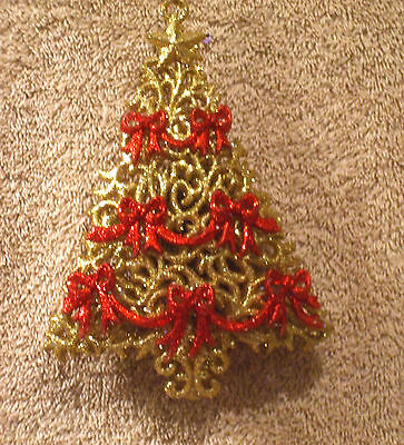 Acrylic Gold Glitter w/Red Bows Tree Christmas Ornament - New