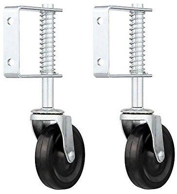 Lot Of 2 4 Spring Loaded Rubber Wheel Gate Caster Spring Loaded Swivel Set