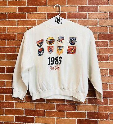 Vintage Coca-Cola 80s White Sweatshirt, Unisex Sz M, RY100629i