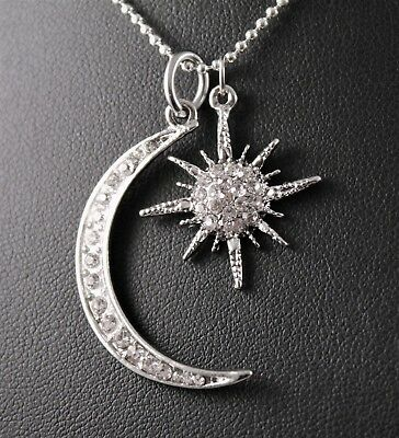 Rhinestone Crescent Moon and Star Pendant Necklace w/Free Jewelry Box and Ship Crescent Moon Jewelry Box