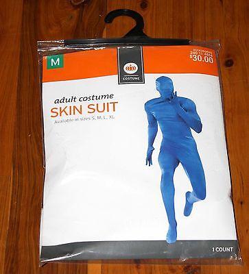 Halloween SKIN SUIT BLUE Adult Full Body Costume MEDIUM Unisex NEW MINT (Blue Skin Suit Kostüm)