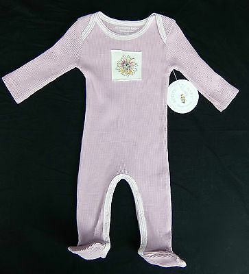 Burts Bees Purple Organic Cotton Thermal One-Piece Footed Baby Girl 3-6 Month