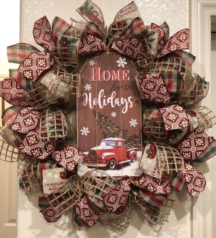 BURLAP RED TRUCK CHRISTMAS WREATH 🎄 Handmade Deco Mesh RUSTIC FARMHOUSE Cute!