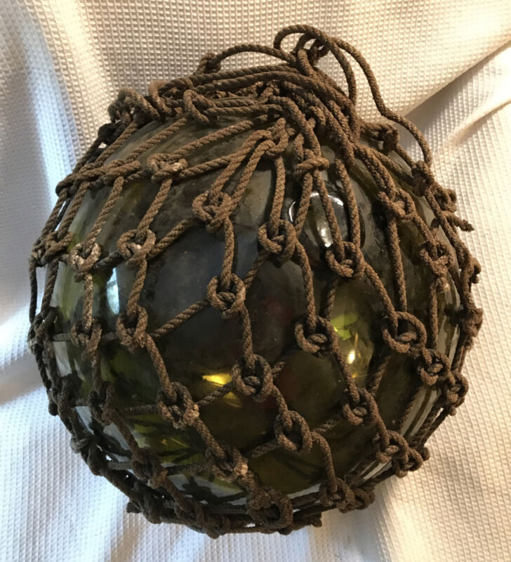 Antique Nautical Hand Blown Glass Buoy Japanese Fishing Float w/ Pontil Scar