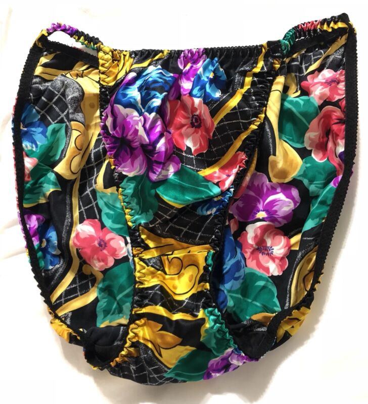 Vintage Victoria's Secret BIKINI RARE gold crown label Size M Floral Panties