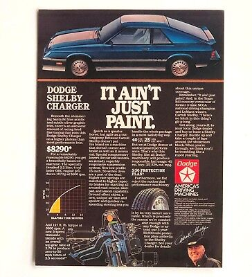 1983 Dodge Shelby Charger Advertisement Carroll Shelby Photo Car Print AD