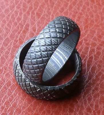Custom Damascus Dome Chainlink design Men Ring, Size (10)  wedding ring Contemporary Design Wedding Ring