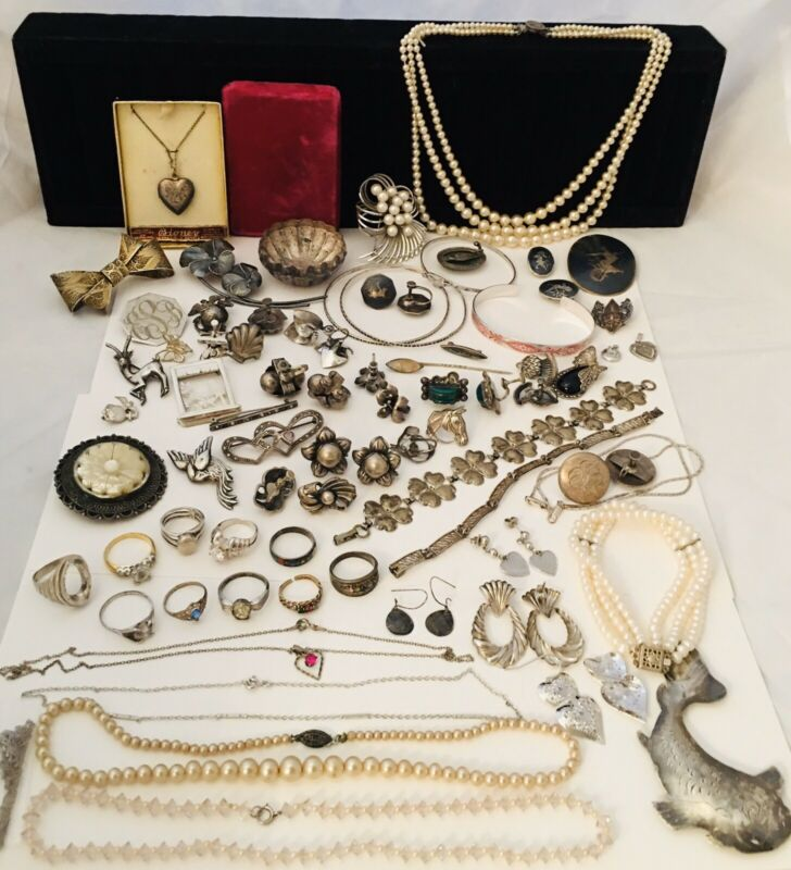 Vintage ANTIQUE STERLING SILVER Estate JEWELRY Lot NOT SCRAP 430grams GREAT!