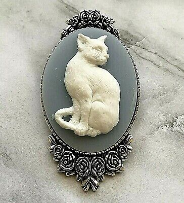 WEDGWOOD BLUE color CAT Cameo SILVER BROOCH PIN Victorian MOTHER'S DAY -